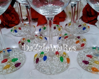 CHRISTMAS Wine Glasses Set of 2 - Small Light Bulbs- Hand Beaded- Holiday Gifts -Holiday Decor -Wedding -Couture Inspired- Xmas-Hostess Gift