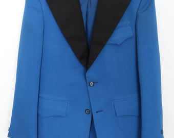 Size 34S/35S - 1970's VTG Formal Craft blue polyester wash & wear tuxedo jacket, men's/boy's