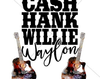 Cash Hank Willie Waylon Sublimation Transfer
