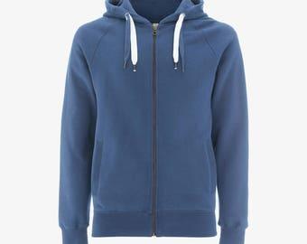Zip Hoody - Blue 100% Organic Cotton