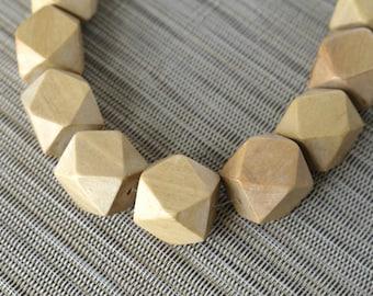 20mm Natural Geometric Polygon Wood Beads - Waxed - 10 pcs.