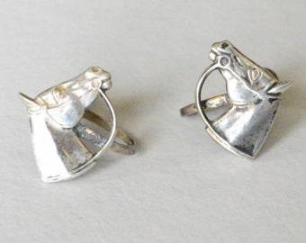 Vintage Sterling Silver Heart Equestrian Screw Back Style Earrings