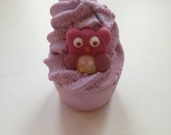 Purple owl bath bomb