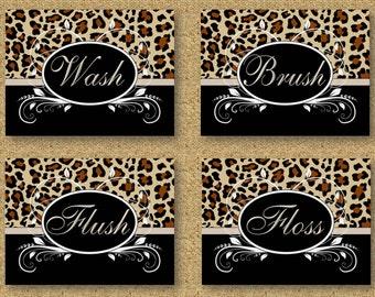Bathroom Wall Art Prints - Set of 4 - Leopard Cheetah Wash Brush Floss Flush