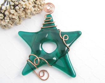 Emerald Green Glass Star Suncatcher Ornament - Fused Glass Star - Green Glass Star Christmas Ornament - Handmade Star Suncatcher