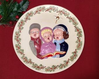 Vintage 1960's Christmas Caroling Plate