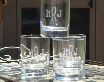 Double Old Fashion Beverage Glasses Engraved with Monogram
