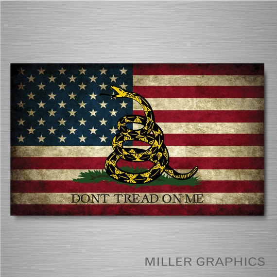 Gadsden American Flag Distressed Decal Sticker Graphic For Car