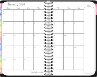 2018 Monthly Planner - Digital Awesome Planner for iPad - PDF Tablet Planner in Black with Note Pages