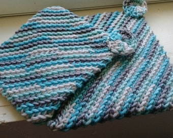 Crocheted Pot Holders -- Grey and Aqua Blue Double Layered Crocheted Pot Holders