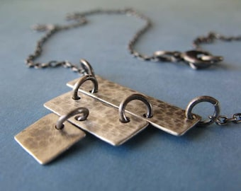 Brushed rustic sterling silver 3 tier necklace. Simple textured oxidized modern jewelry. Rectangle strip pyramid.  Urban mod gift for her.