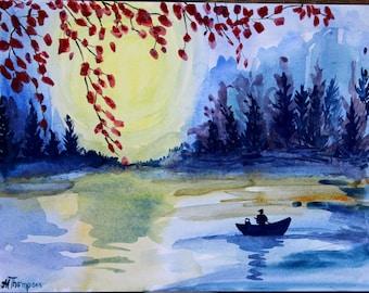 Original water color lake painting