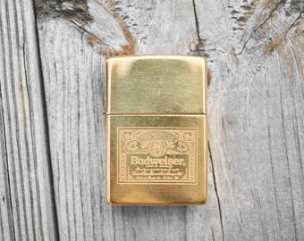 Brass Zippo With Budweiser logo unfired