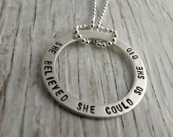 Graduation Gift, She Believed She Could So She Did sterling silver necklace, Inspirational