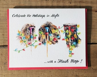 Funny Christmas Card // Holiday Card / Christmas Card / Celebrate in Style Flash Mop Celebration / Funny Holiday Card / Xmas Card / X'mas