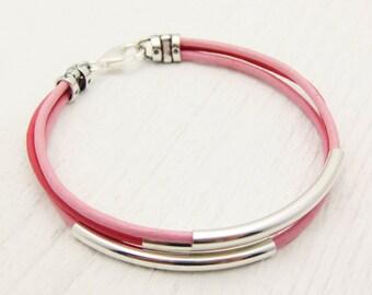 Pink Leather Sterling Silver Bangle Bracelet / Eco Friendly Leather Bracelet / Bright Pink Bracelet / Sterling Silver Bangle Bracelet