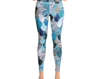 Scale Leggings, Mermaid Leggings, Mermaid, Leggings, Yoga Legging, Mermaid Pants, Yoga Pants,  XS, S, M, L, XL