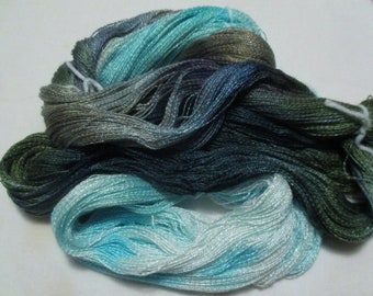 Hand dyed Tencel Yarn - 900 yds. Lace Wt. Tencel Yarn  EARTH FROM SPACE