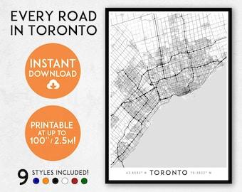 Toronto map art, Printable Canada map print, Printable Toronto print, Toronto poster, Toronto art, Wall art, Toronto gift, Ontario map print