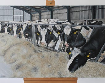Cow Painting, Cow Print, Farm Painting