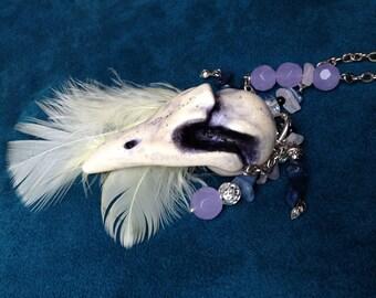 White Moa Bird Resin Skull Convertible Necklace