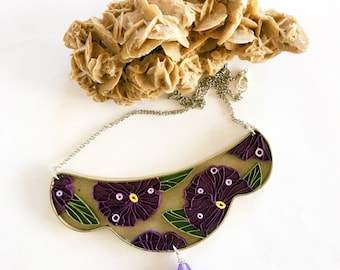Crescent paper necklace with pansies, quilling, eco-friendly paper jewel, ultraviolet, gift for her, handmade