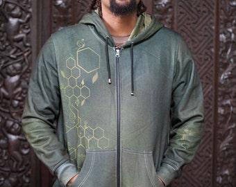 GREEN BEEING Men's Hoodie / Bee Hoodie / Sweatshirt / Green Hoodie / Tribal Hoodie / Hexagon / Sacred geometry Hoodie / Psychedelic Hoodie