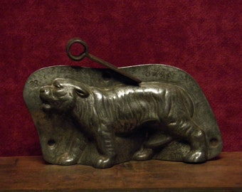 antique two part chocolate mold of a Tiger