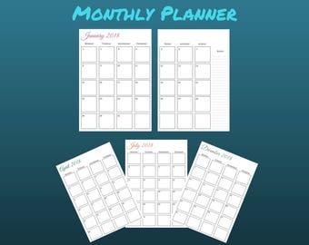 Monthly Planner, Printable Planner, Minimalist, Monthly Planner 2018, Digital Download, 2018 Planner, A5