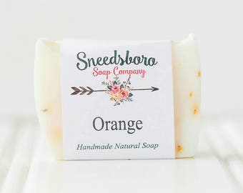 Orange Bar Soap -  Homemade Soap -  Natural Bar Soap - Citrus Soap - Valentines Gift - Natural Soap - Mothers Day - Soap Bar - Soap for Her