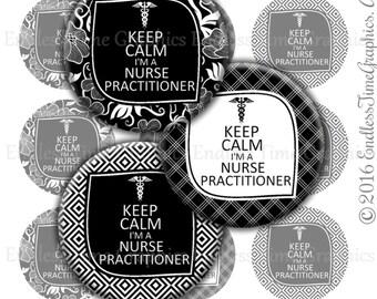 Keep Calm I'm a Nurse Practitioner Digital Bottle Cap Images. Nurse Badge Reel Image. Name Tag Reel. Nurse Gift. 1 Inch Digital Nurse 130