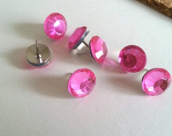 Pink Push Pins - Pink Rhinestone Thumbtacks - Work Pins - Bulletin board Pins - Cork Board