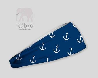 Anchor Headband, Fitness Headband, Blue Headband, White Headband, Non Slip Headband, Wide or Thin Headband, Yoga Headband