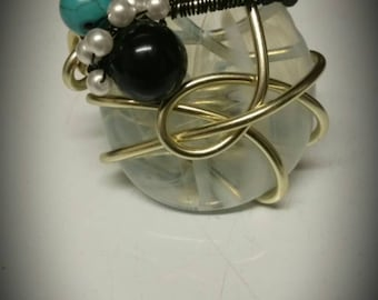 Assorted Mint- Handmade wire wrapped adjustable ring