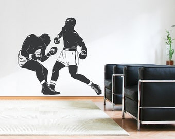 Boxing Match Wall Decal - Sports Wall Decal Sticker, Boxer Decal, Boxing Match, Punching Bag, Boxing Fan, Wall Art For Men, Boxing Decal