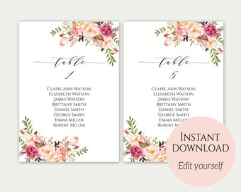 Wedding Seating Chart Template, Seating Cards, Seating Chart Sign, Seating Chart Template, Editable Seating Chart, Instant Download, C1