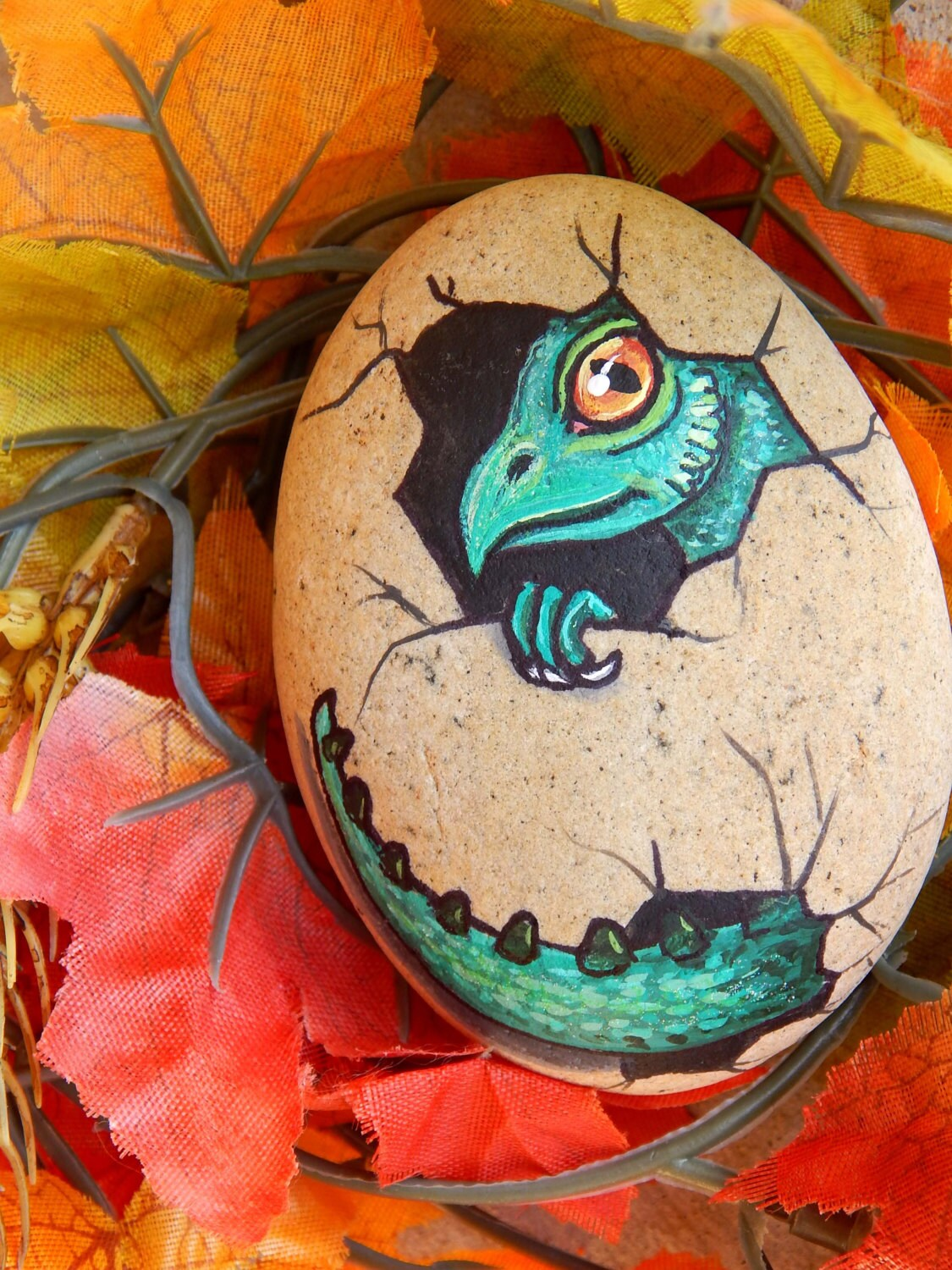 Green Baby Dragon Egg Hand Painted Stone Mythical Creature
