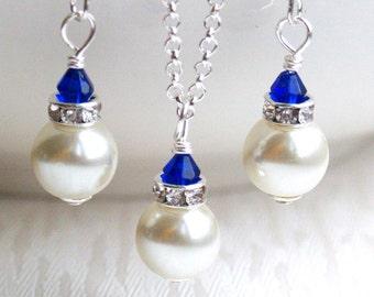 Ivory Jewelry Set Bridesmaid Gift Ivory Royal Blue Pearl Bridesmaid Jewelry set necklace & earring Royal Blue Jewelry Set Bridesmaid Jewelry