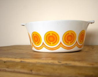 Vintage Pyrosil Orange Casserole/Oven Dish Retro 1970s Kitchenalia Homeware Cookware Made in The Netherlands
