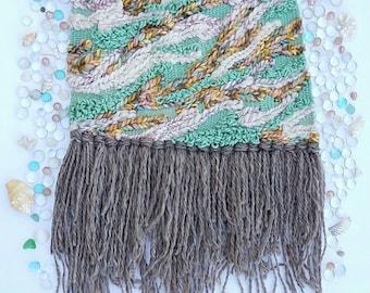 Seafoam Swell, Woven Wall Hanging