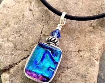 Pretty Blue Dichroic Glass Pendant Necklace Small Wire wrapped