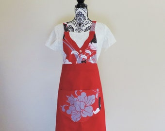 FULL APRON, Ladies Apron, Kitchen Apron, Gorgeous Handmade Red, Grey, White and Black