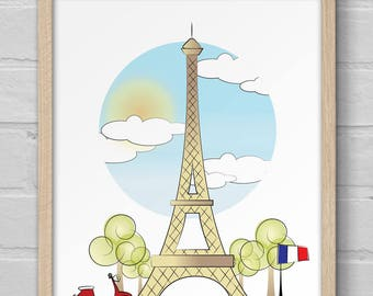Laminas para imprimir, laminas ilustrada Paris, Laminas nordicas, laminas escandinavas, laminas decorativas, digital download, art print