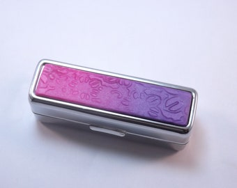 Handcrafted Polymer Clay Embellished Purple to Pink Ombre Lipstick Holder, Pill Box