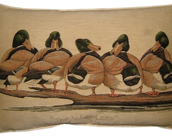 The Waddlers Ducks in a Row Oblong Tapestry Cushion Pillow Cover