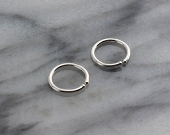 9mm Silver Hoop Earrings, Handmade Jewelry, Silver Tiny Hoops, Handmade Hug Bar Hoops, Silver Stick Everyday Earrings, 9 x 0.8mm