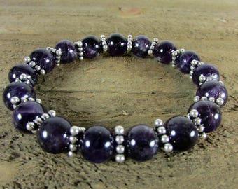 Amethyst & Sterling Silver Triangle Stretch Bracelet, Amethyst Stretch Bracelet, Gemstone Bracelet