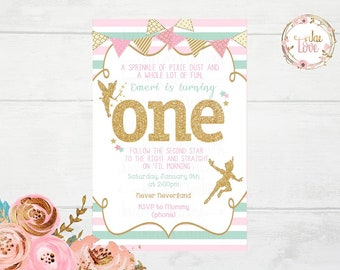 Tinkerbell Pink, Mint, and Gold Invitation