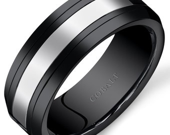 Mens 8mm Black Ceramic Cobalt Wedding Band Ring sizes 7-14