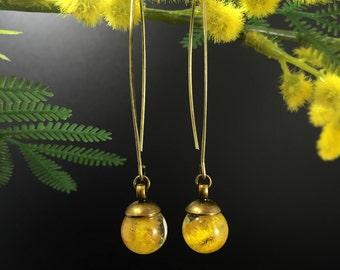 Flower Earrings, Resin Earrings, Nature Jewelry, Flower Jewelry, Real Flower Earrings, Crystal Earrings, Handmade Earrings, Mimosa earrings